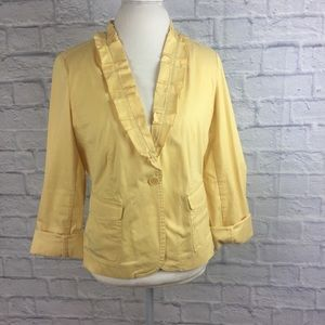 Talbots Summer Jacket Blazer Cotton Pleated Collar
